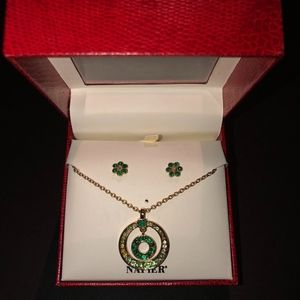 Napier Shades of Green Earring and Necklace Set